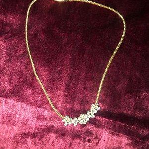 "Vintage 16"" Monet goldtone necklace with rhineston"